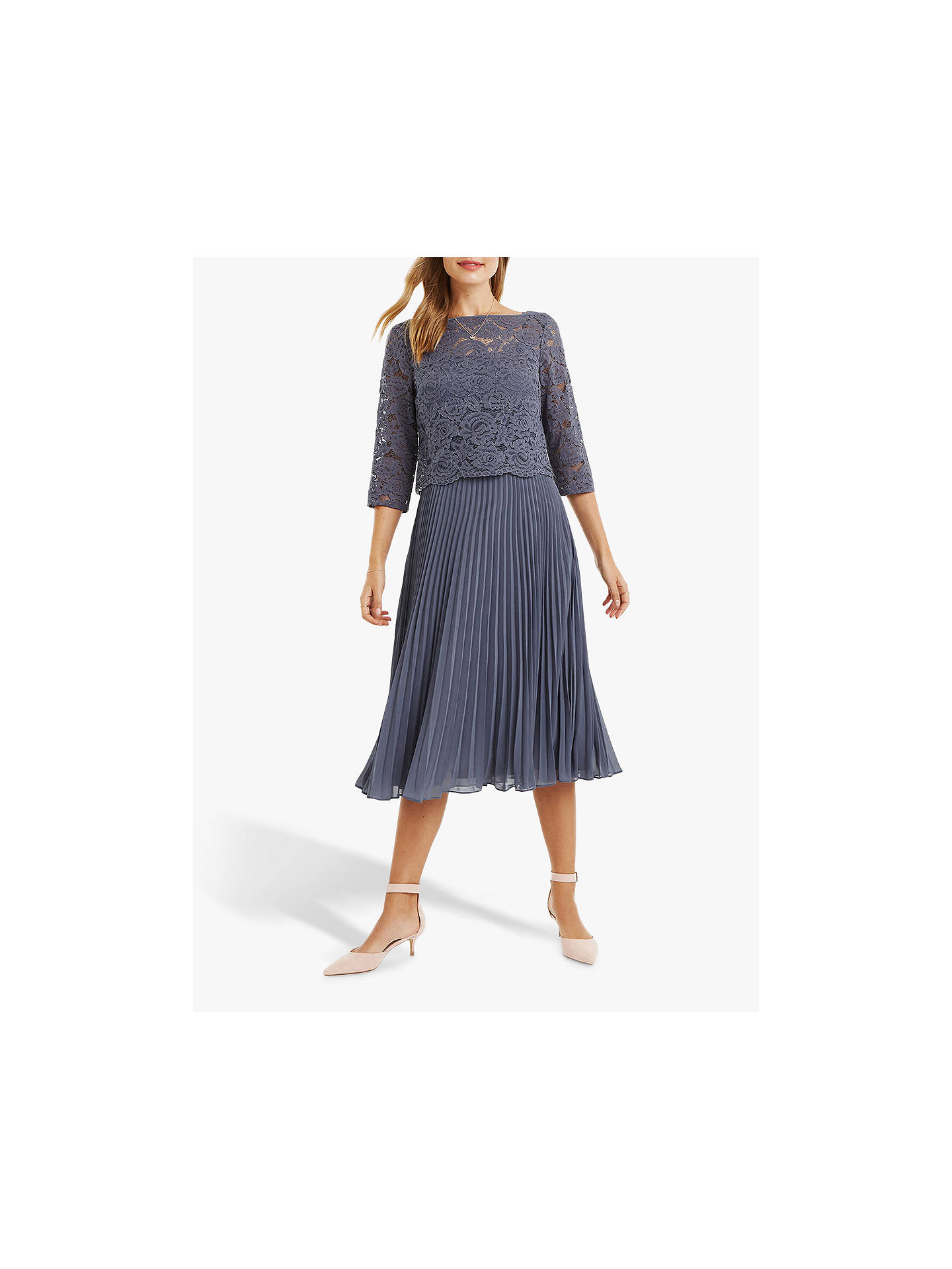 4413a62aed4e Buy Oasis Lace Top Knife Pleat Midi Dress, Grey, 14R Online at johnlewis.