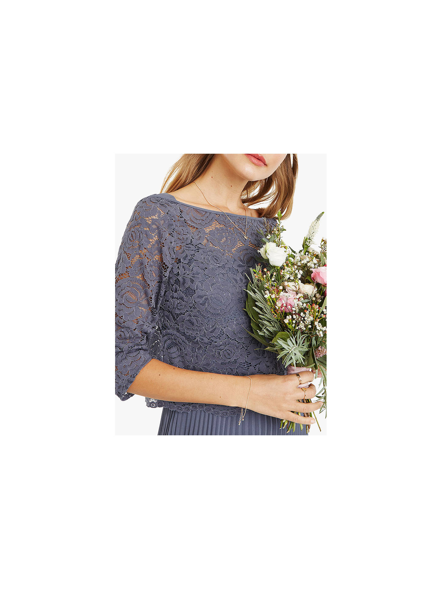 d054d23a31f9 Buy Oasis Lace Top Knife Pleat Midi Dress, Grey, 14R Online at johnlewis.