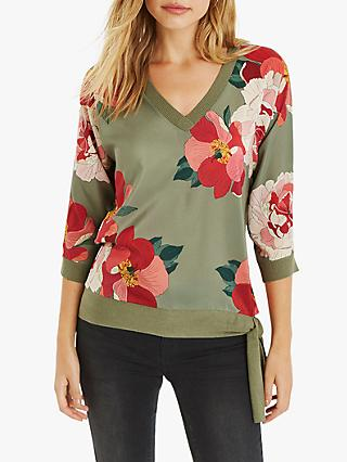 Oasis Rosemary Floral Side Tie Detail Top, Khaki