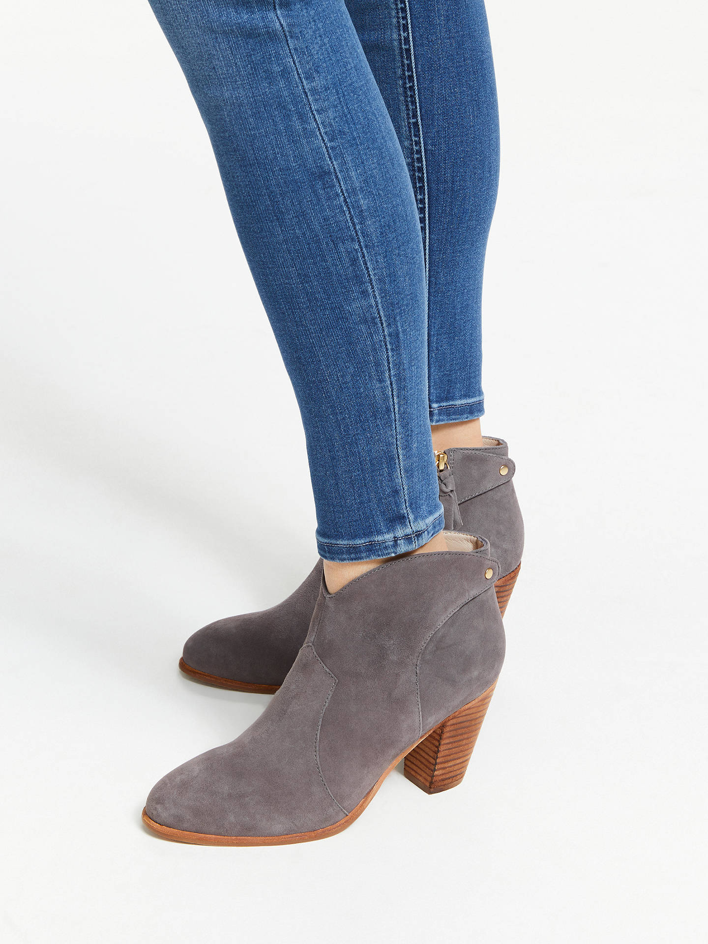 Buy Boden Hoxton Heeled Ankle Boots, Pewter, 4 Online at johnlewis.com
