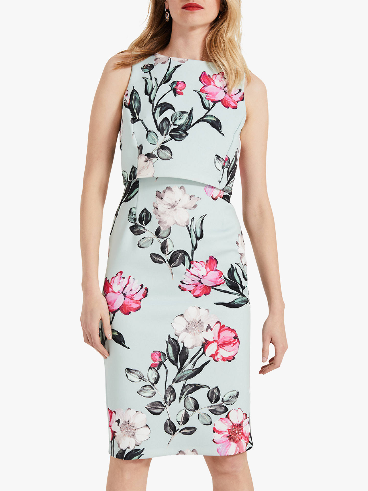 23ee634a9b Buy Phase Eight Peony Floral Print Dress, Mint, 6 Online at johnlewis.com  ...