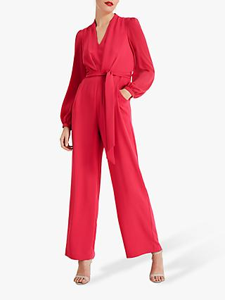 Phase Eight Audrey Tie Jumpsuit, Raspberry