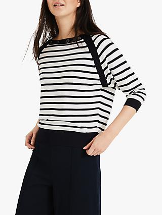 Phase Eight Ellie Eyelet Stripe Knit, Ivory/Navy
