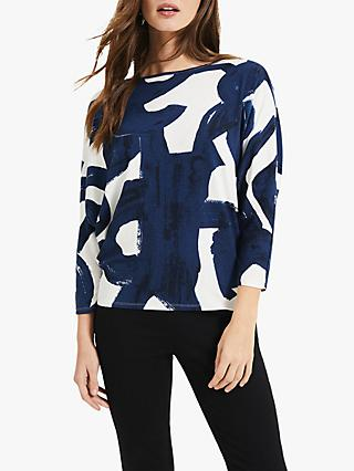 Phase Eight Adina Abstract Print Top, Navy/Ivory