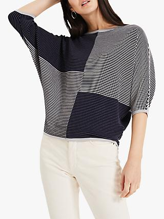 Phase Eight Ellie Eyelet Knitted Top, Navy