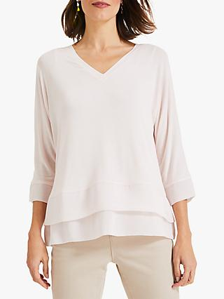 Phase Eight Kim Double Layer Top, Pale Pink