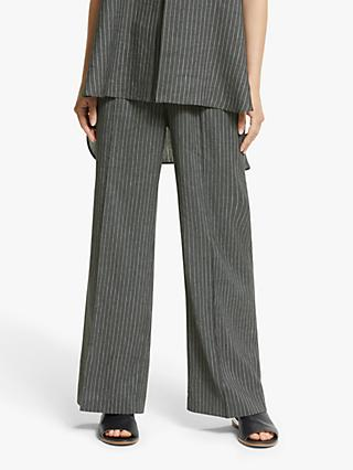 Modern Rarity Wide Leg Striped Trousers, Black