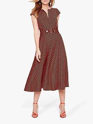 Damsel in a Dress Tilly Stripe Midi Flare Dress, Navy/Orange