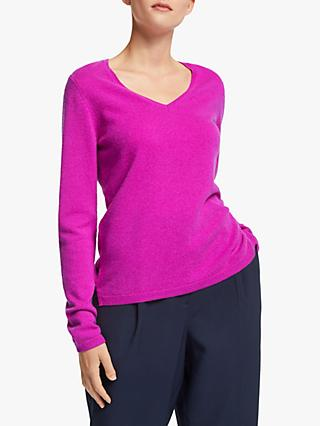 John Lewis & Partners Cashmere Rib Trim V-Neck Sweater