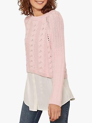 Mint Velvet Dual Layer Cable Knit Jumper, Light Pink