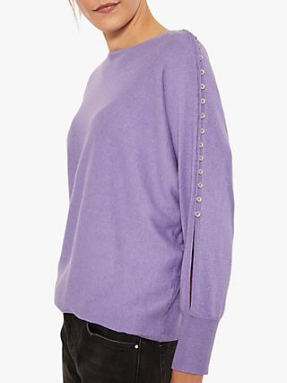 Mint Velvet Button Batwing Sleeve Knit, Light Purple