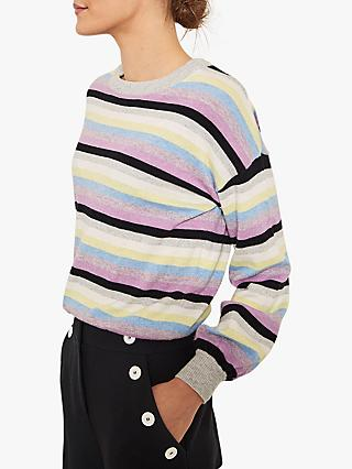 Mint Velvet Striped Balloon Knit, Multi