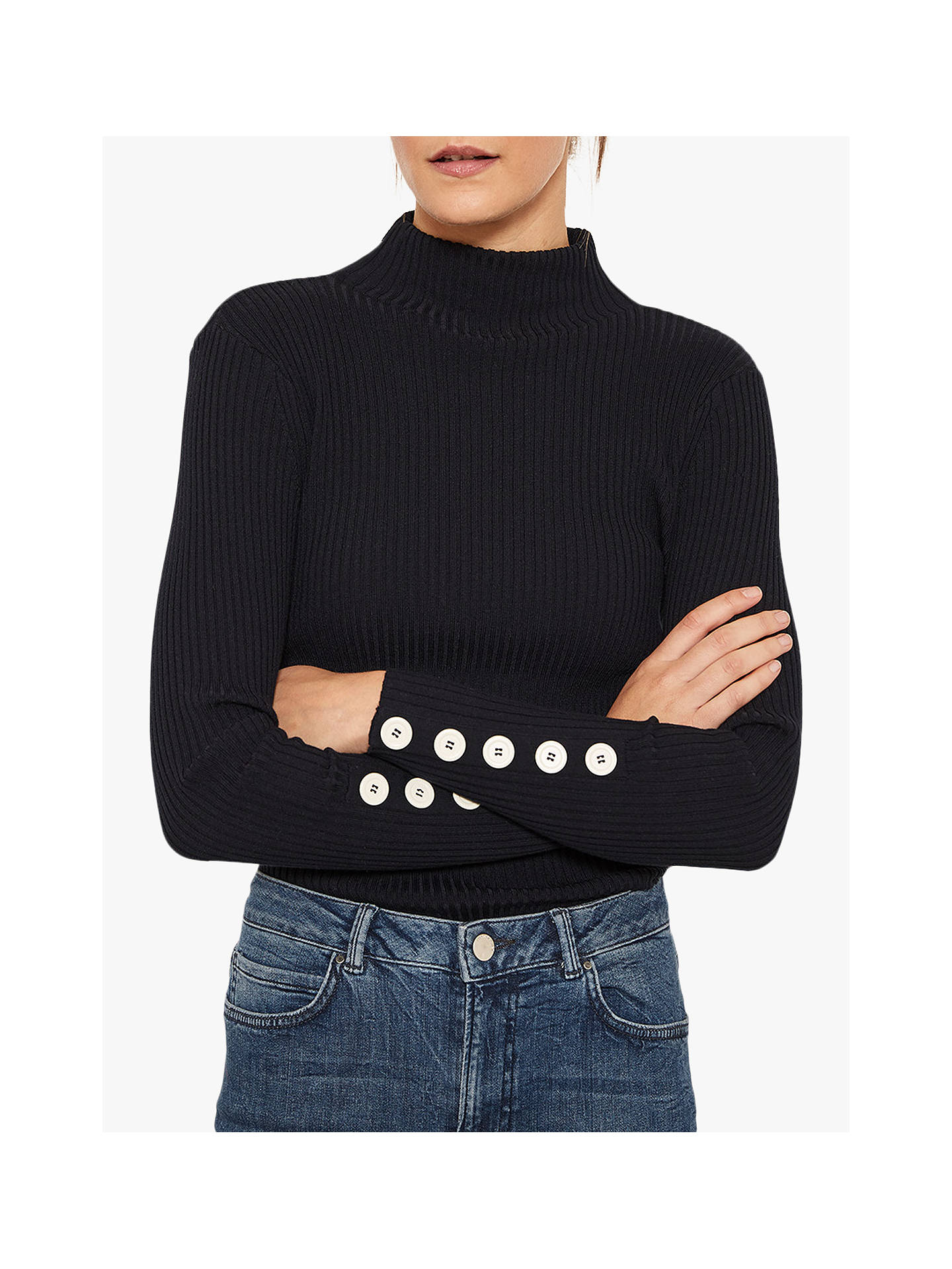 BuyMint Velvet Fine Ribbed Buttoned Sleeve Knit, Navy, 6 Online at johnlewis.com