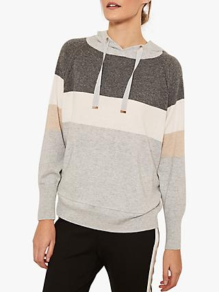 Mint Velvet Colour Block Stripe Hoodie, Silver Grey