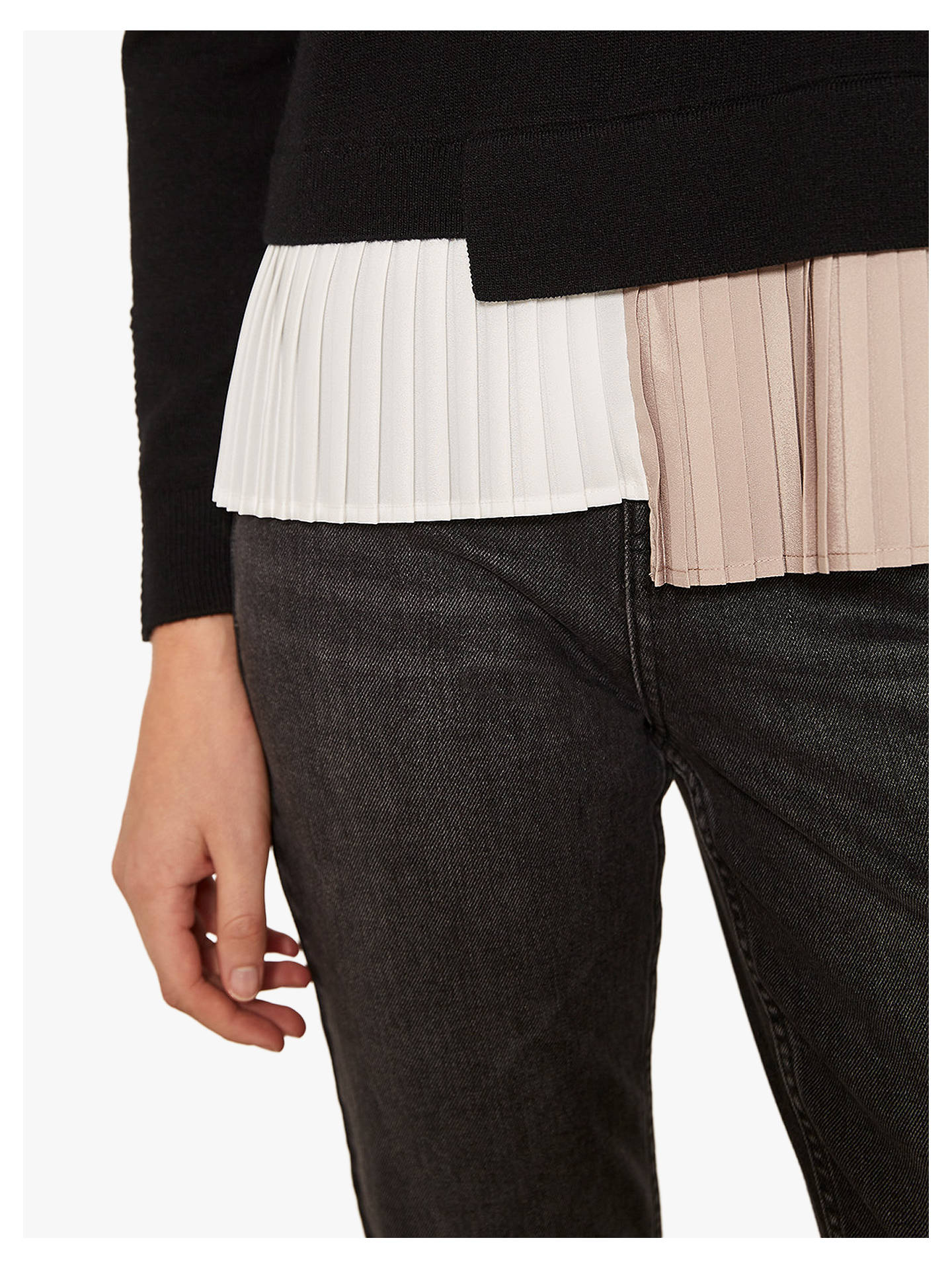Buy Mint Velvet Pleated Dual Layer Knit Jumper, Multi, 12 Online at johnlewis.com