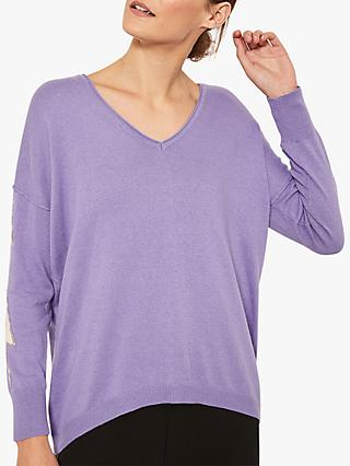 Mint Velvet V-Neck Lightening Bolt Knit, Violet