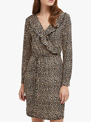 French Connection Animal Print Wrap Dress, Brown Leopard