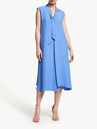 John Lewis & Partners Tie Neck Asymmetric Hem Midi Dress, Ultramarine Blue