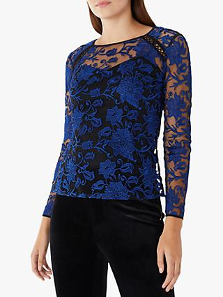 Coast Floral Embroidered Overlay Bella Top, Navy