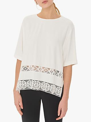 Gerard Darel Enza Lace Detail Side Slit Blouse, Ecru