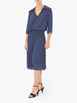 Gerard Darel Gerry Flared Pleat Midi Dress, Blue