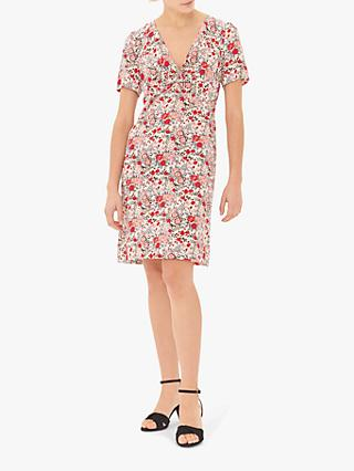 Gerard Darel Galliane Floral Silk Shift Dress, White/Multi
