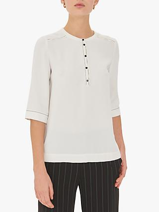Gerard Darel Edris Short Sleeve Blouse, Ecru