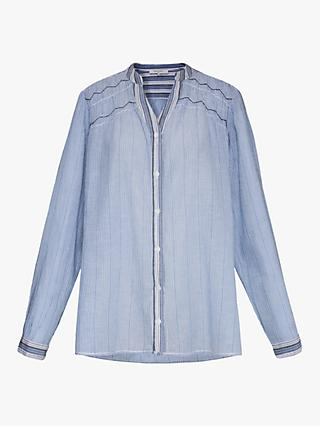 Gerard Darel Emeline Pinstripe Cotton Shirt, Pale Blue