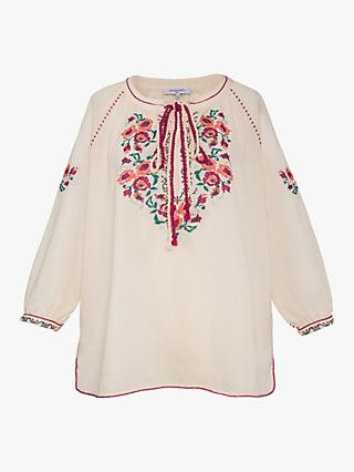Gerard Darel Elias Flower Embroidery Cotton Blouse, White/Multi