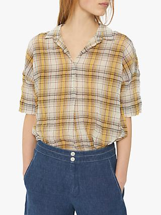 Gerard Darel Emma Check Print Shirt, Yellow/Multi