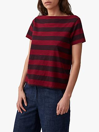 Toast Block Stripe Boat Neck T-Shirt, Red/Mulberry
