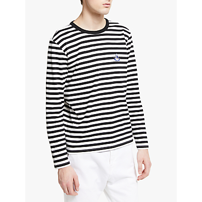 Maison Labiche Shark Striped Long Sleeve T-Shirt, Black/White