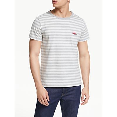 Maison Labiche Beach Buggy Embroidered Stripe T-Shirt, White/Heather