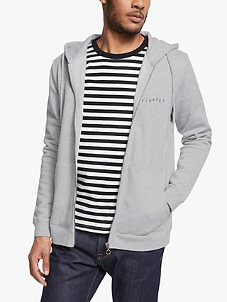Maison Labiche Fighter Zip Up Hoodie, Heather Grey