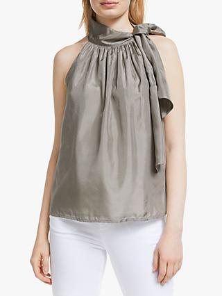 John Lewis & Partners Halter Tie Neck Silk Top, Grey