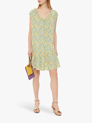 Gerard Darel Gretel Ruffle Hem Floral Dress, Yellow