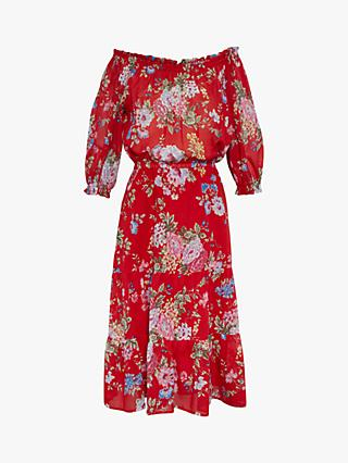 Gerard Darel Gait Floral Bardot Cotton Dress, Red/Multi