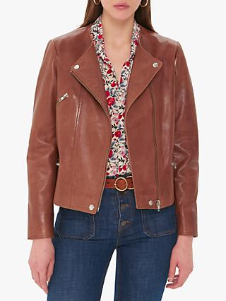Gerard Darel Ottavia Leather Biker Jacket, Brown