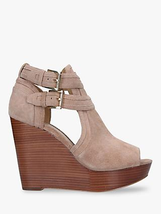 MICHAEL Michael Kors Blaze High Wedge Open Toe Sandals, Khaki Suede