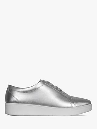 FitFlop Rally Lace Up Trainers, Silver Leather