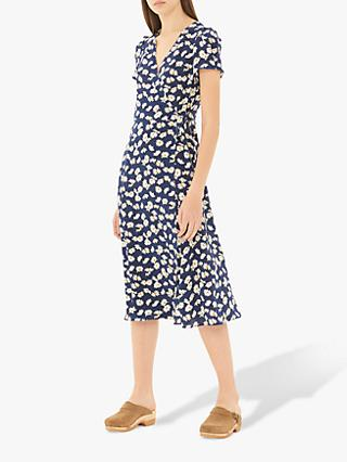 Gerard Darel Giorgia Silk Wrap Dress, Blue/Multi