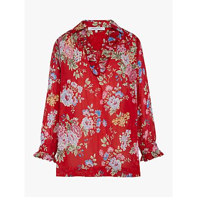 Gerard Darel Elyana Ruffle Floral Blouse, Red