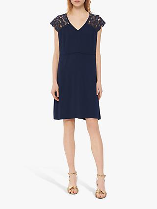 Gerard Darel Genova Floral Lace Detail Dress, Navy