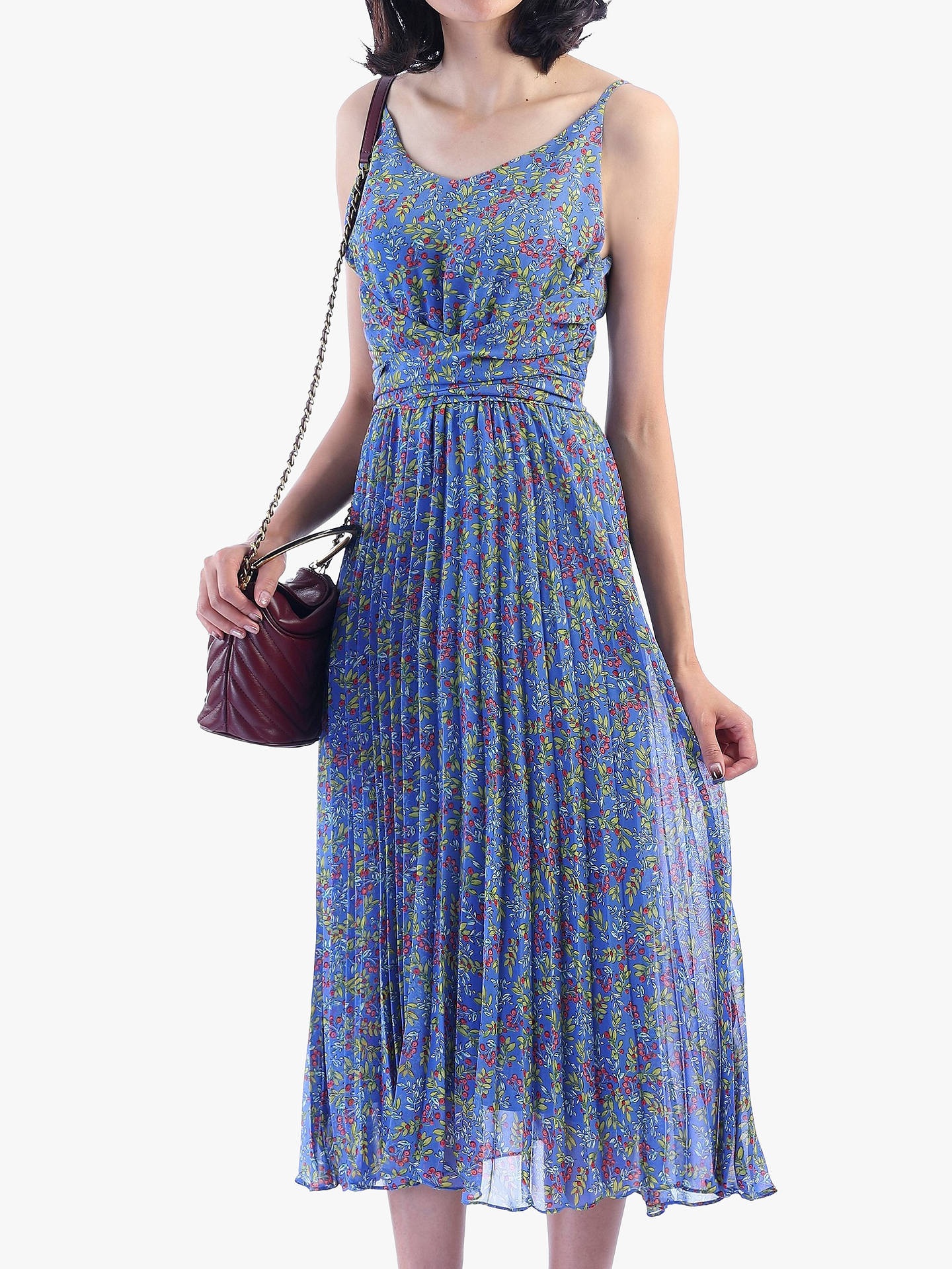 9ec8993101b4 Buy Jolie Moi Strappy Berry Print Pleated Dress, Blue Floral, 16 Online at  johnlewis ...