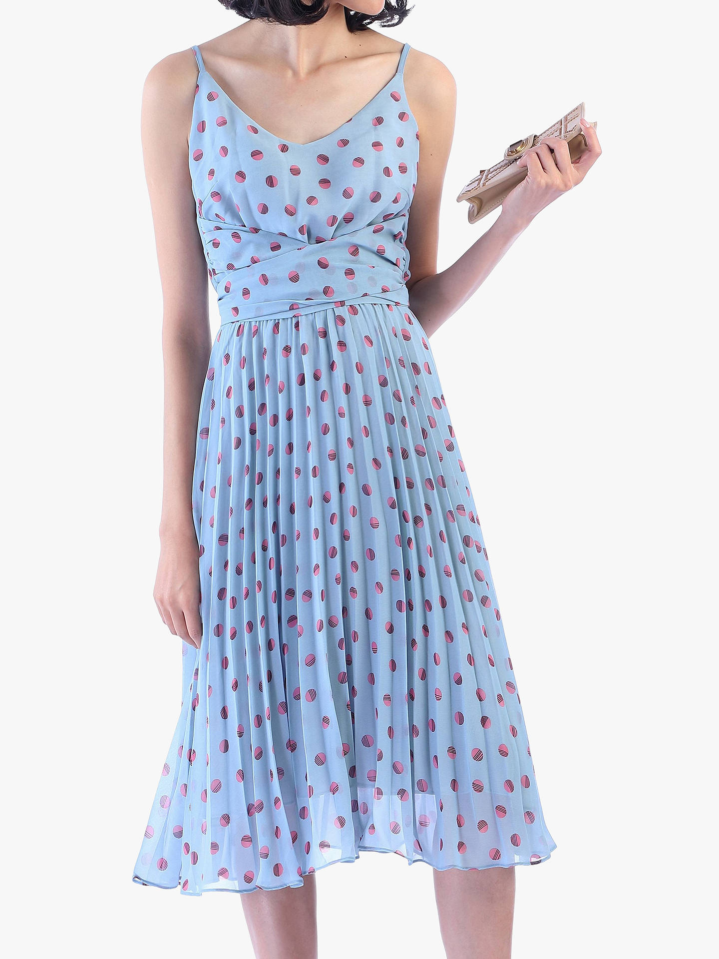 95e2ac90ae05 Buy Jolie Moi Strappy Spot Print Pleated Dress, Blue Polka, 14 Online at  johnlewis ...