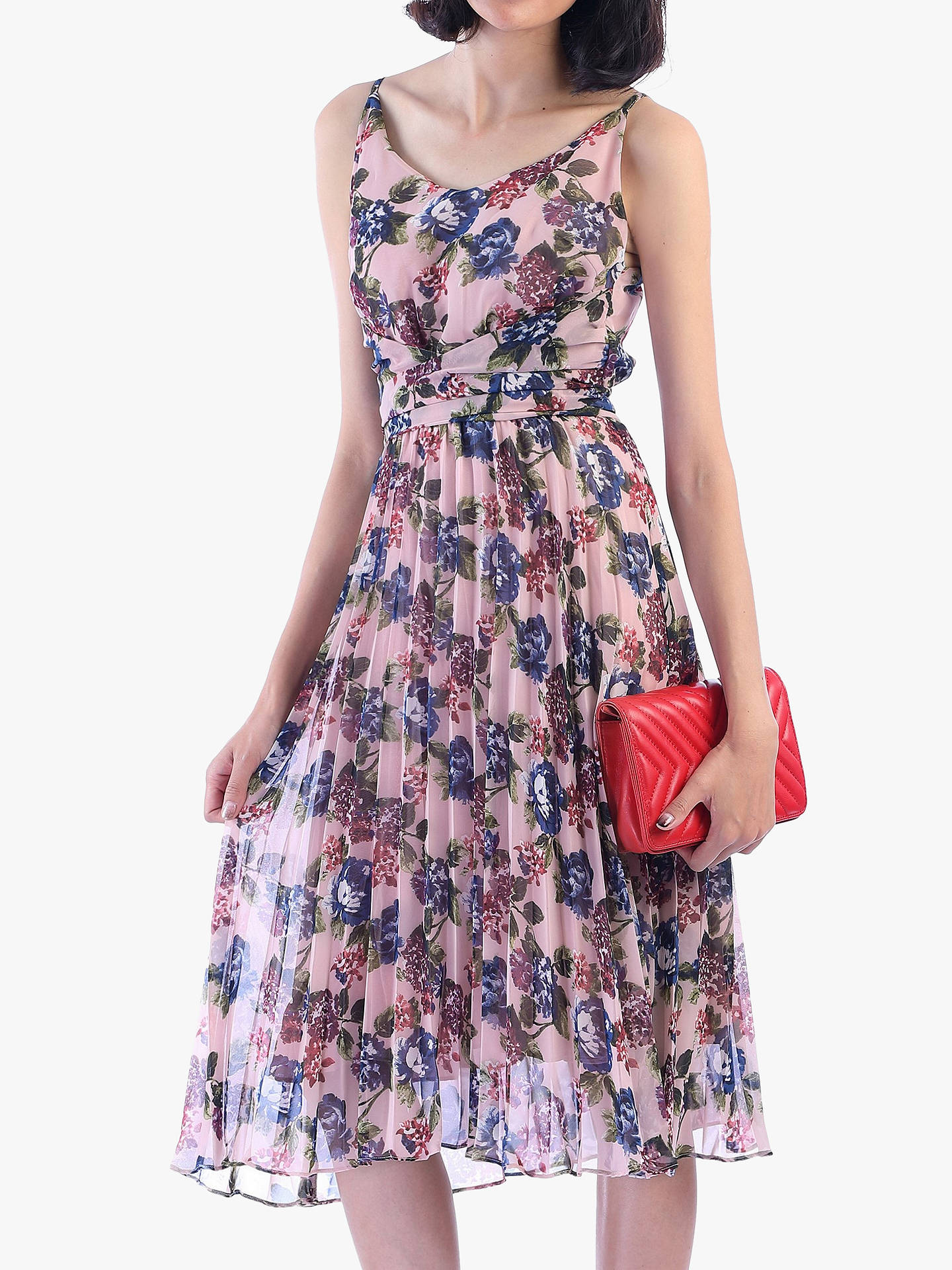 619b7c01a470 Buy Jolie Moi Strappy Floral Pleated Dress, Pink/Multi, 8 Online at  johnlewis ...