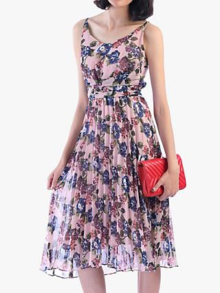 Jolie Moi Strappy Floral Pleated Dress