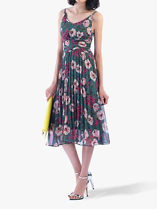 Jolie Moi Strappy Floral Pleated Dress, Tea Floral