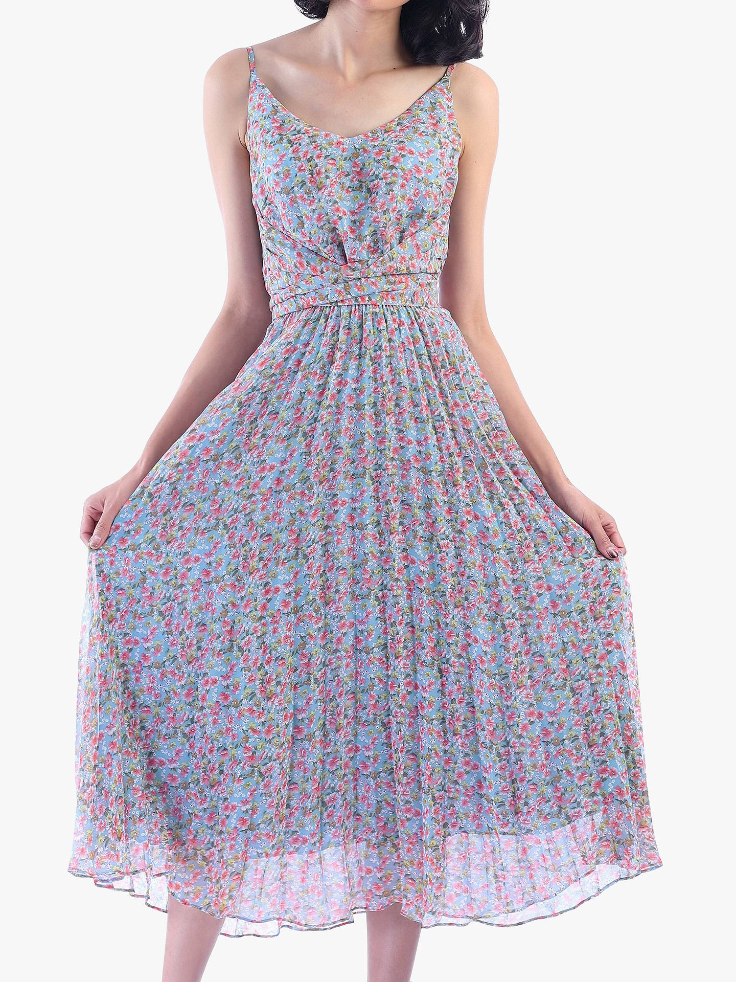 87ee42d570eb Buy Jolie Moi Strappy Small Floral Print Pleated Dress, Aqua/Multi, 18  Online ...