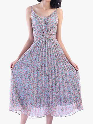 Jolie Moi Strappy Small Floral Print Pleated Dress, Aqua/Multi